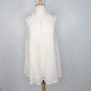 No Boundaries Cream Crochet Lace Tunic Dress, M